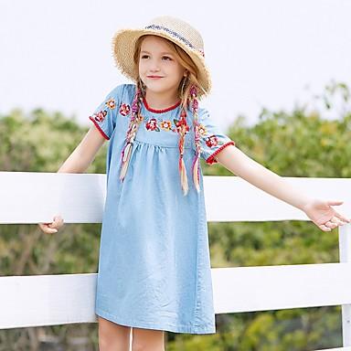340894a95 baratos Vestidos para Meninas-Infantil Para Meninas Floral Estampado  Vestido Azul Claro