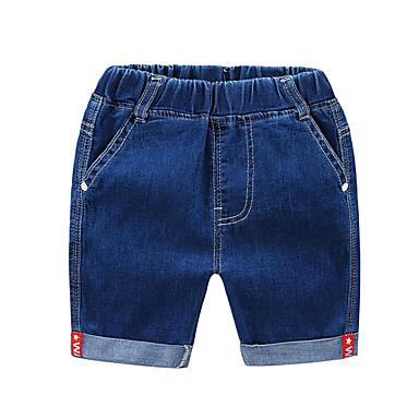 baratos Calças para Meninos-Infantil Para Meninos Básico Moda de Rua Sólido Estampa Colorida Retalhos Patchwork Algodão Jeans Azul