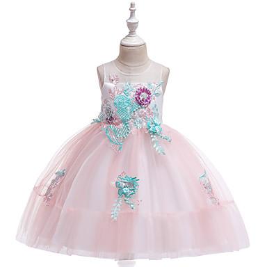 baratos Vestidos para Meninas-Infantil Para Meninas Activo Estilo bonito Rosa empoeirada Estampa Colorida Renda Com Transparência Bordado Sem Manga Altura dos Joelhos Vestido Azul Claro