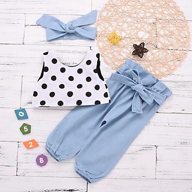 abordables Conjuntos de Ropa para Bebés-Bebé Chica Básico Un Color Sin Mangas Corto Algodón / Poliéster Conjunto de Ropa Azul claro