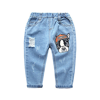 baratos Jeans Para Meninos-Infantil Para Meninos Básico Moda de Rua Estampado Buraco rasgado Algodão Jeans Azul Claro