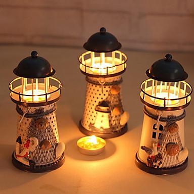 billige Stearinlys og lysestaker-miniatyr fyr 14cm håndmalte fyr jern modell lysestake