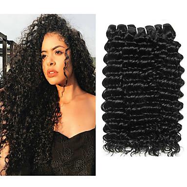 voordelige Weaves van echt haar-3 bundels Braziliaans haar Diepe Golf Onbehandeld haar Menselijk haar weeft Bundle Hair Een Pack Solution 8-28 inch Natuurlijke Kleur Menselijk haar weeft Cosplay Klassiek nieuwe collectie Extensions