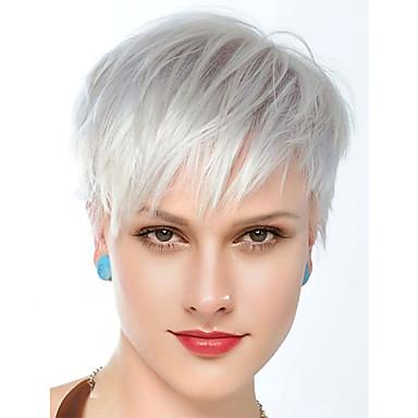 Menschliches Haar Capless Perücken Echthaar Glatt / Natürlich gerade Stufenhaarschnitt Beste Qualität / neu / Komfortabel Silber Kurz Kappenlos Perücke Damen / Alles / Afro-amerikanische Perücke