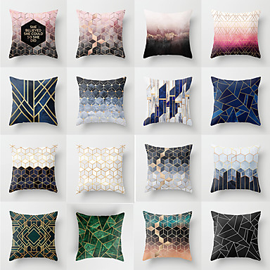 1 Pcs Polyester Pillow Cover Geometic Fashion Throw