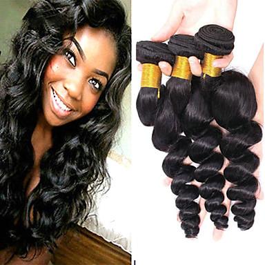 voordelige Weaves van echt haar-4 bundels Braziliaans haar Los golvend Niet verwerkt Menselijk Haar Menselijk haar weeft Verlenging Bundle Hair 8-28inch Natuurlijke Kleur Menselijk haar weeft Geurvrij Zacht Beste kwaliteit