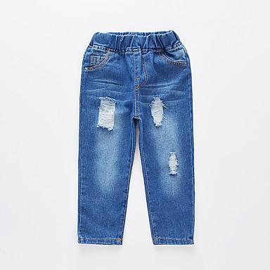 baratos Jeans Para Meninos-Infantil Para Meninos Básico Moda de Rua Sólido Com Corte Buraco rasgado Algodão Jeans Azul