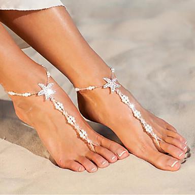 voordelige Dames Sieraden-Dames Blote voeten sandalen Zeester Schelp leuke Style Imitatieparel Enkelring  Sieraden Wit Voor Dagelijks