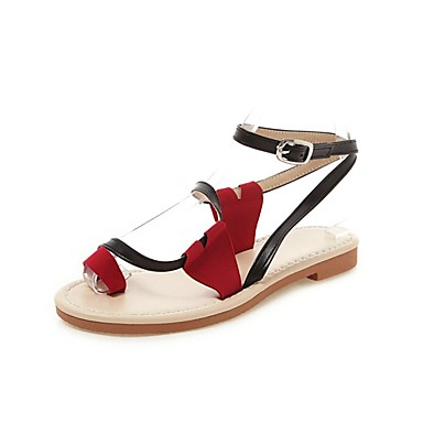 cheap Women's Sandals-Women's Faux Leather Summer / Spring & Summer Casual / Sweet Sandals Walking Shoes Flat Heel Open Toe Satin Flower White / Black / Yellow / Color Block