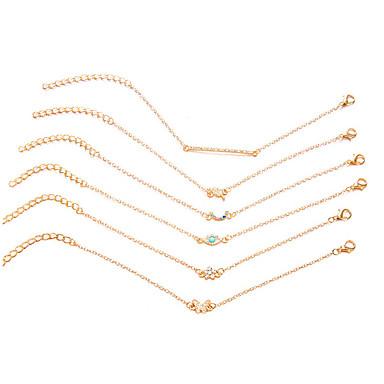 abordables Bracelet-6pcs Chaînes Bracelets Femme Classique petit diamant Multicolore Yeux Nombre Papillon Elégant Rustique simple Coréen Bracelet Bijoux Dorée Rond pour Cadeau Quotidien Ecole Travail Promettre