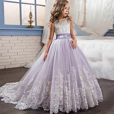 povoljno Princeza-Djeca Djevojčice Aktivan slatko Party Praznik Kolaž Bez rukávů Maxi Haljina Blushing Pink