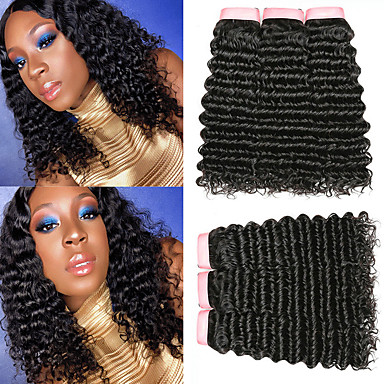 baratos Extensões de Cabelo Natural-6 pacotes Cabelo Brasileiro Encaracolado Deep Curly 100% Remy Hair Weave Bundles Peça para Cabeça Cabelo Humano Ondulado Cabelo Bundle 8-28 polegada Côr Natural Tramas de cabelo humano Sem Cheiros
