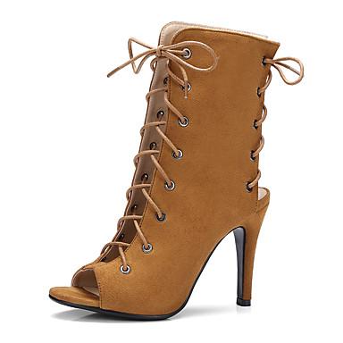 voordelige Dameslaarzen-Dames PU Lente zomer Vintage / Brits Laarzen Kegelhak Peep Toe Lichtblauw / Amandel / Lichtbruin / Feesten & Uitgaan