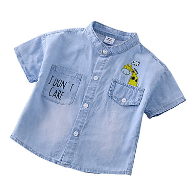 baratos Camisas para Meninos-Infantil Para Meninos Activo Básico Estampado Estampado Manga Curta Algodão Camisa Azul Claro