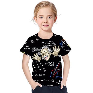 povoljno Majice za djevojčice-Djeca Dijete koje je tek prohodalo Djevojčice Aktivan Osnovni Geometrijski oblici Print Print Kratkih rukava Poliester Spandex Majica s kratkim rukavima Crn