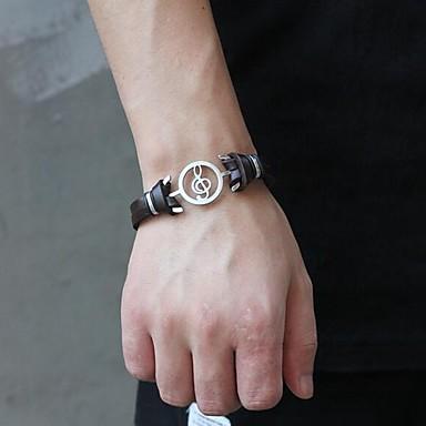voordelige Herensieraden-Heren Lederen armbanden Dubbel Gelaagd Muzieknoot Punk tekonahka Armband sieraden Zwart / Bruin Voor Dagelijks