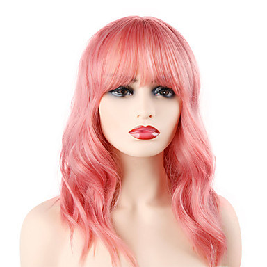 povoljno Perike i ekstenzije-Sintetičke perike Wavy Stil Bob frizura Machine Made Perika Pink Ružičasta Sintentička kosa 14 inch Žene Party Divan Najbolja kvaliteta Pink Perika Srednja dužina Laflare