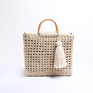 cheap Going to the beach-Women's Tassel Top Handle Bag Straw Solid Color Almond / Fall & Winter