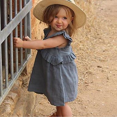 d61a806e74 tanie Sukienki dla niemowląt-Dziecko Dla dziewczynek Aktywny   Podstawowy  Solidne kolory Falbana   Patchwork
