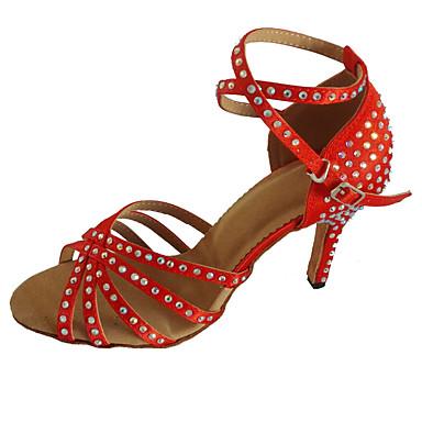 3b268b659dea Žene Cipele za latino plesove Saten Štikle Crystal   Rhinestone Tanka  visoka peta Moguće personalizirati Plesne cipele Crvena