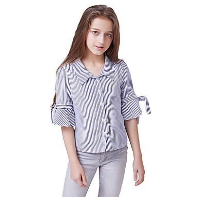baratos Blusas para Meninas-Infantil Para Meninas Activo Básico Listrado Estampado Meia Manga Blusa Azul