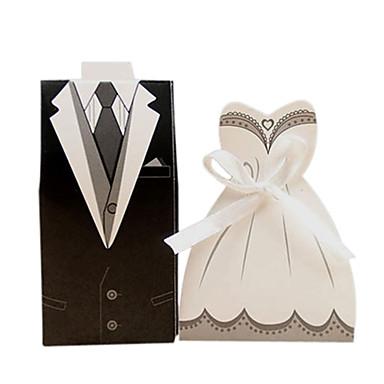 abordables Support de Cadeaux pour Invités-Irrégulier Papier nacre Titulaire de Faveur avec Ruban Boîtes à cadeaux / Caissettes pour Cupcakes et Boîtes / Boîtes Cadeaux - 50 pièces