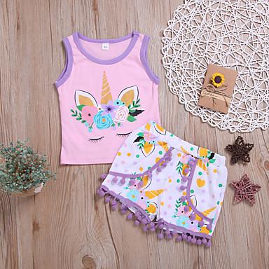 3d589421d Baby Girls' Active Print Sleeveless Regular Regular Cotton Clothing Set  White / Toddler
