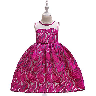 ca8983f6bbd Παιδιά Κοριτσίστικα Ενεργό Κομψό στυλ street Μονόχρωμο Δαντέλα Κεντητό  Αμάνικο Ως το Γόνατο Φόρεμα Πράσινο Ανοικτό