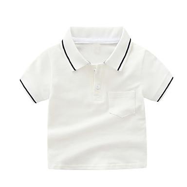 baratos Camisas para Meninos-Infantil Para Meninos Activo Básico Sólido Listrado Manga Curta Algodão Camiseta Branco
