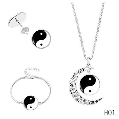 voordelige Feestaccessoires-Dames meetkundig Sieraden set Crescent Moon Punk omvatten Ketting Oorbel Armband Zwart / Blauw Voor Feest