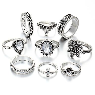 בגדי ריקוד נשים טבעת הגדר זירקונה מעוקבת 9pcs כסף סגסוגת מעגלי ארופאי חתונה תכשיטים חמוד