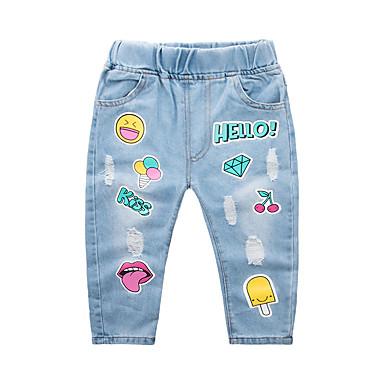baratos Jeans Para Meninos-Infantil Para Meninos Básico Moda de Rua Geométrica Estampado Algodão Jeans Azul