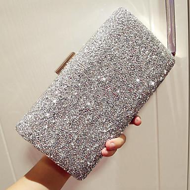 cheap Bags-Women's Rhinestone Evening Bag Rhinestone Crystal Evening Bags PU(Polyurethane) Solid Colored Gold / Black / Silver