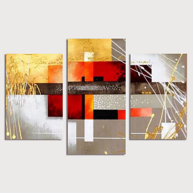 cheap Home & Garden-Oil Painting Hand Painted - Abstract Modern Stretched Canvas / Three Panels