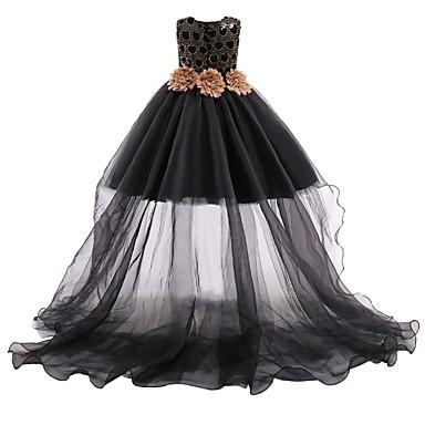 baratos Vestidos para Meninas-Infantil Para Meninas Floral Com Transparência Vestido Preto