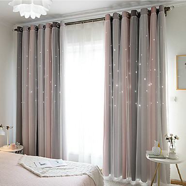 billige Vindusbehandling-Moderne Blackout Et panel Curtain & Sheer Soverom   Curtains