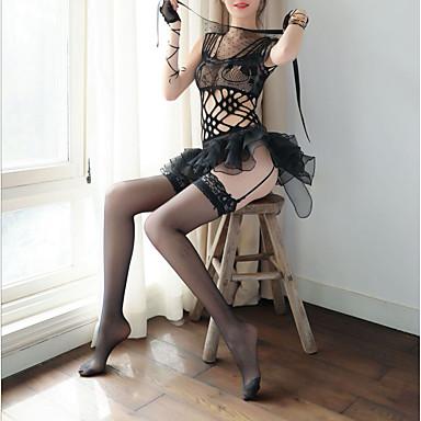 cdc7ddd77 رخيصةأون لانجري نسائي-أزياء Cosplay نسائي مثير بدلات ملابس نوم كشكش, لون  سادة أسود