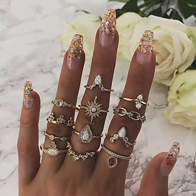 cheap Rings-Women's Classic Ring Ring Set Sun Pear European Trendy Fashion Ring Jewelry Gold For Daily Carnival School Street Club 12pcs
