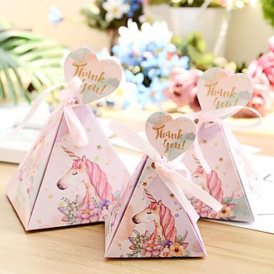 abordables Support de Cadeaux pour Invités-Taper Shape Papier nacre Titulaire de Faveur avec Ruban Boîte de rangement / Boîtes Cadeaux / Emballages à Biscuits - 50 pièces