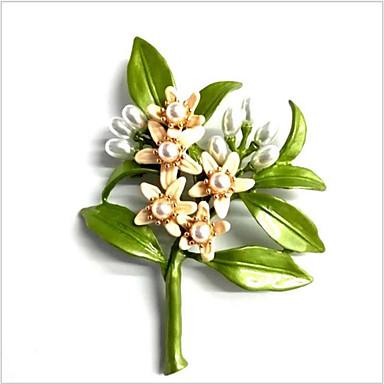 billige Nåler og brosjer-Dame Perle Nåler Vintage Stil Blomster Tema Stilfull Vintage Brosje Smykker Grønn Til Jul Bryllup Engasjement Gave Daglig