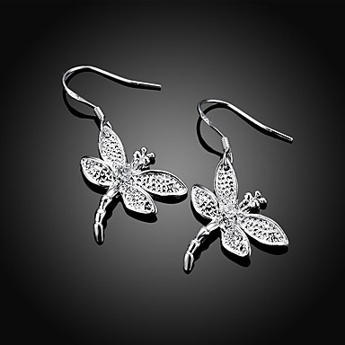 2d9e50ceb Women's 3D Drop Earrings Silver Plated Earrings Dragonfly Stylish Simple  Jewelry Silver For Daily Work 1 Pair