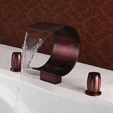 חדר רחצה כיור ברז - מפל מים ברונזה ששופשפה בשמן חורים צדדיים שתי ידיות שלושה חוריםBath Taps