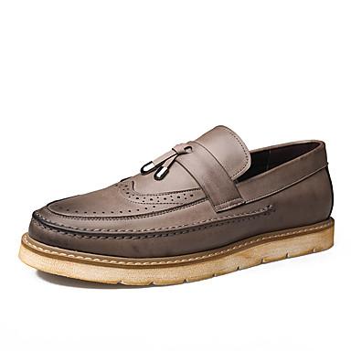 בגדי ריקוד גברים נעלי עור עור אביב קיץ סגנון סיני נעליים ללא שרוכים ללבוש הוכחה שחור / אפור