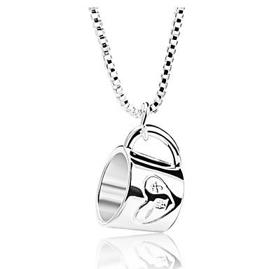 בגדי ריקוד נשים שרשראות תליון גביע פשוט טרנדי Chrome כסף 52 cm שרשראות תכשיטים 1pc עבור יומי פֶסטִיבָל