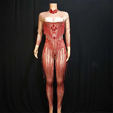 b22e4a51f Dance Costumes Exotic Dancewear / Nightclub Jumpsuits Women's Performance  Spandex Acrylic Jewels / Tassel / Crystals / Rhinestones Long Sleeve  Leotard / ...