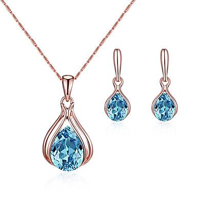 בגדי ריקוד נשים כחול קריסטל טבעות חישוקים קסמים שרשרת קלאסי ארופאי עגילים תכשיטים כחול עבור חתונה Party מתנה יומי פֶסטִיבָל 1set
