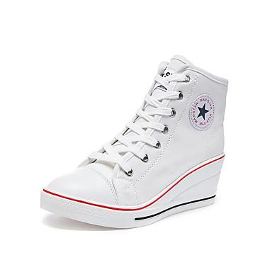 povoljno Ženske cipele-Žene Sneakers Udobne cipele Wedge Heel Okrugli Toe Platno Ležerne prilike / minimalizam Proljeće ljeto Crvena / Plava / Pink