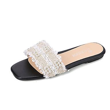 voordelige Damespantoffels & slippers-Dames Slippers & Flip-Flops Comfort schoenen Platte hak Siernagel Netstof Informeel Zomer Wit / Zwart / Beige / Kleurenblok