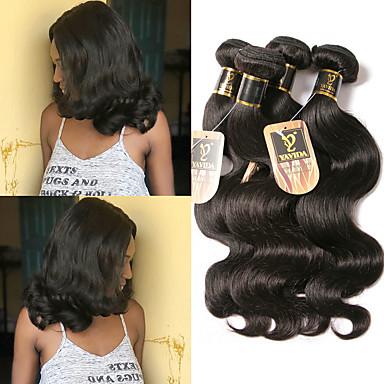 3 חבילות שיער ברזיאלי Body Wave שיער אדםלא מעוב טווה שיער אדם שיער Bundle פתרון חפיסה אחת 8-28 אִינְטשׁ צבע טבעי שוזרת שיער אנושי ללא ריח איכות מעולה מכירה חמה תוספות שיער אדם
