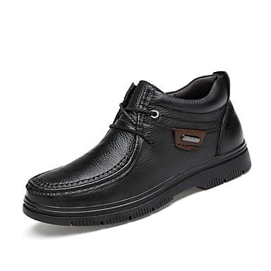 בגדי ריקוד גברים נעלי עור עור נאפה Leather חורף קלסי / יום יומי מגפיים הליכה שמור על חום הגוף מגפונים\מגף קרסול שחור / חום